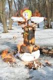 Das brennende Maslenitsa-Bildnis Stockfoto