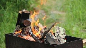 Das Brennholz, das im Feuer brennt, Holz brennt im Grill draußen stock footage
