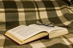 Das Buch auf Plaid stockfoto