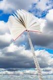 Das Buch, das auf Seil gebunden wird, steigt in graue Wolken an Stockfotografie