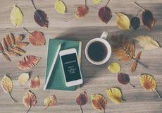 Das Buch, das Telefon und eine Tasse Tee Lizenzfreies Stockbild