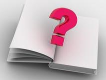 Das Buch und die Frage. Stockfoto
