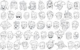 Das cabeças preto e branco dos caráteres dos desenhos animados grupo grande do vetor ilustração royalty free