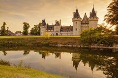 Das Chateau von der Besudelte-sur-Loire bei Sonnenuntergang, Frankreich Stockfotografie