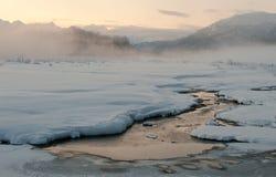 Das Chilkat Tal unter einer Bedeckung des Schnees Stockfotos
