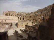 Das Colosseum in der Stadt von EL Djem Stockfotografie