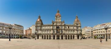 Das Coruna-Stadt-Rathaus in Maria Pita Square von Galizien, Spanien stockbild