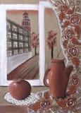 Das crianças do ` s do desenho do ` vida ainda com um jarro e um ` da maçã Fotos de Stock