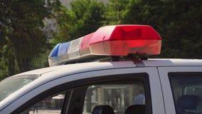 Das Dach-angebrachte Lightbar eines Polizeiwagens lizenzfreies stockbild