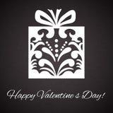 Das Day.Gift-Kastenverzierung des Valentinsgrußes auf abstraktem Weinlesehintergrund lizenzfreie abbildung