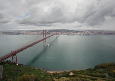 Das 25 De Abril Bridge in Lissabon, Portugal Lizenzfreies Stockbild