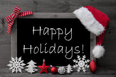 Días de fiesta de Santa Hat Christmas Decoration Happy de la pizarra Foto de archivo