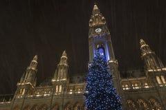 Das des Wiens Warteweihnachten Rathaus Lizenzfreies Stockfoto