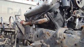 Das Detail über das alte Auto stock video
