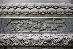 Das Detail des Steins schnitzend an Shaolin-Kloster in Henan-Provinz in China lizenzfreie stockbilder