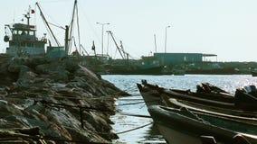 Das Dock Marine und das Meer stock footage