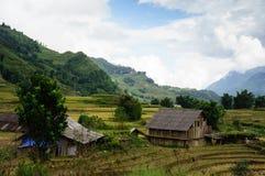 Das Dorf auf dem Reisfeld Stockfotos