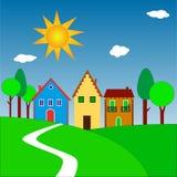 Das Dorf auf Hügeln Lizenzfreie Stockbilder