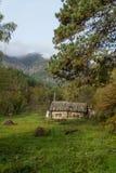 Das Dorf ist in einem typischen russischen Haus des Kiefernwald A Lizenzfreie Stockbilder