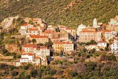 Das Dorf von Belgodere in Korsika Stockbilder
