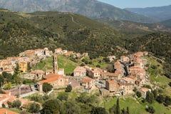 Das Dorf von Moltifao in der Balagne-Region von Korsika Lizenzfreie Stockfotos