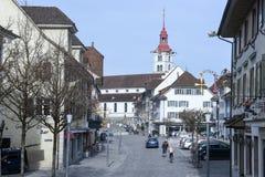Das Dorf von Sursee auf der Schweiz Stockfotografie