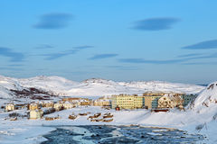 Das Dorf von Teriberka Stockfotos