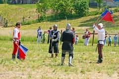 Das Duell von zwei Rittern Stockfoto