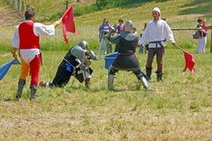 Das Duell von zwei Rittern Lizenzfreies Stockbild