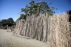 Das Dump behandelte Holz für den Zaun von Madagaskar Lizenzfreie Stockbilder