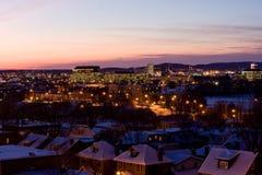 Das Dunkelwerden von Ottawa nach Schnee stockfoto