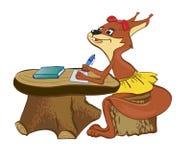 Das Eichhörnchen am Schreibtisch lizenzfreie abbildung