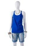 Das einfache blaue Trägershirt der Frau Stockfotografie