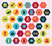 Das Einkaufen und die Mode bezogen sich die Ikonen eingestellt gemacht in der Hexagonform Lizenzfreie Stockfotografie
