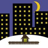 Das einsame Haus gegen die Großstadt Stockbild