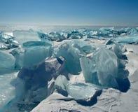 Das einzigartige Eis der Baikalsee nahe Olkhon-Insel Lizenzfreie Stockfotografie