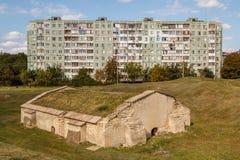 Das einzige restliche Gebäude in den Ruinen von Tiraspol-Schloss Lizenzfreies Stockbild