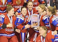 Das Eis-Hockey-Weltmeisterschaft IIHF-Frauen - Bronzemedaillen-Match - Russland V Finnland lizenzfreies stockfoto
