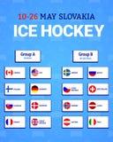 Das Eis-Hockeytabelle der Männer Auch im corel abgehobenen Betrag Flaggenikonen der beteiligten Länder Meisterschaft 2019 Hockeyg vektor abbildung