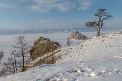 Das Eis vom Baikalsee, Russland im März 2018 Stockbild