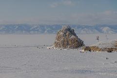 Das Eis vom Baikalsee, Russland im März 2018 Lizenzfreies Stockfoto