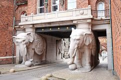 Das Elefanttor an der Carlsberg-Brauerei in Kopenhagen, Dänemark stockfotos