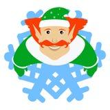 Das Elfe Santa Claus-Rot in Form einer Schneeflocke eine Ikone auf weißem fone dlya die Presse, Unterhemden, T-Shirts, Gewebe, Ka Lizenzfreies Stockbild