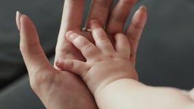 Das Elternteil, das Babys hält, übergeben Neugeborene Babyhand in der Mutterhand stock video footage