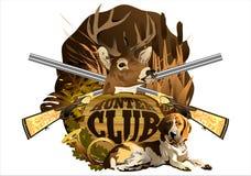 Das Emblem des Jagdvereins mit dem Kopf eines Rotwilds, des Hundes und der Gewehre vektor abbildung