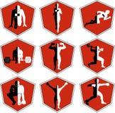 Das Emblem mit dem Athleten, ein Sportlogo, der Läufer auf Anfang Lizenzfreie Stockbilder
