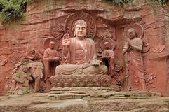 Das Emei Shan Klippenstein: Sakyamuni-Buddhist lizenzfreie stockfotos
