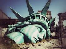 Das Ende der Welt Apokalyptische Vision der zukünftigen Welt manhattan lizenzfreie stockfotografie