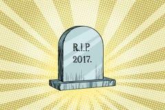 Das Ende 2017, Grabstein mit der Aufschrift lizenzfreie abbildung