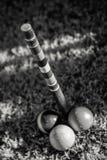 Das Ende Pole im Krokett Stockfoto